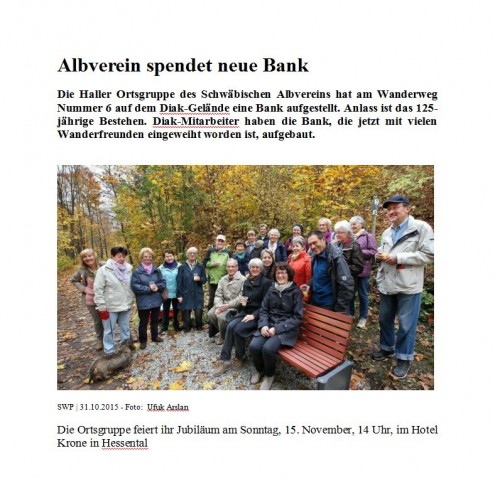 Albverein spendet neue Bank